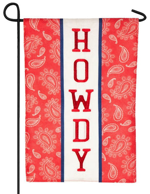 Burlap Howdy Paisley Decorative Garden Flag