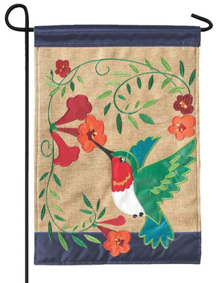 Burlap Hummingbird Decorative Garden Flag