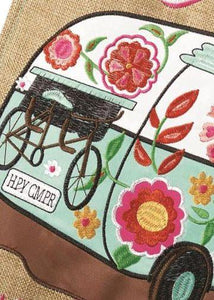Burlap I Go Where I'm Towed Double Applique Garden Flag Detail 1