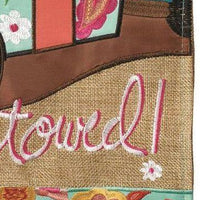 Burlap I Go Where I'm Towed Double Applique Garden Flag Detail 2