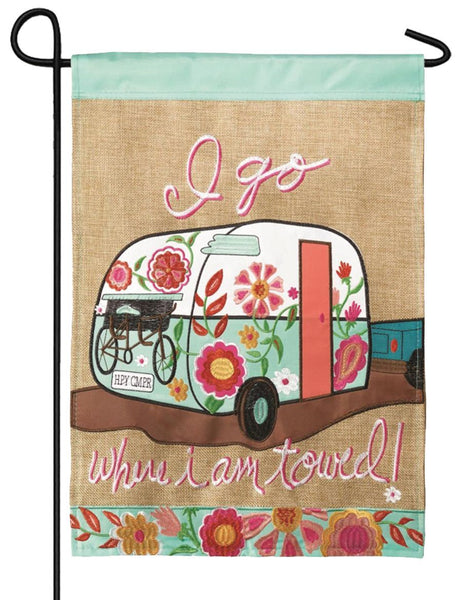 Burlap I Go Where I'm Towed Double Applique Garden Flag