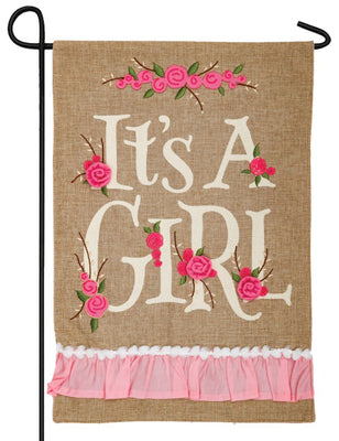 Burlap It's a Girl Double Applique Garden Flag