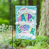 Burlap Jumping Bunnies Decorative Garden Flag Live