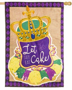 Burlap King Cake Decorative House Flag