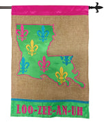 Burlap Welcome LOOZEEANUH Double Applique House Flag