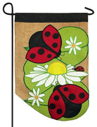 Burlap Ladybug and Daisies Double Applique Garden Flag