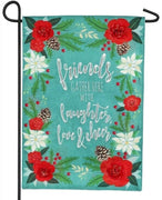 Burlap Laughter Love and Cheer Decorative Garden Flag