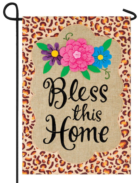 Burlap Leopard Bless Double Applique Garden Flag
