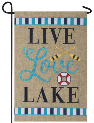 Burlap Live Love Lake Double Applique Garden Flag