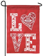 Burlap Love Patterns Double Applique Garden Flag