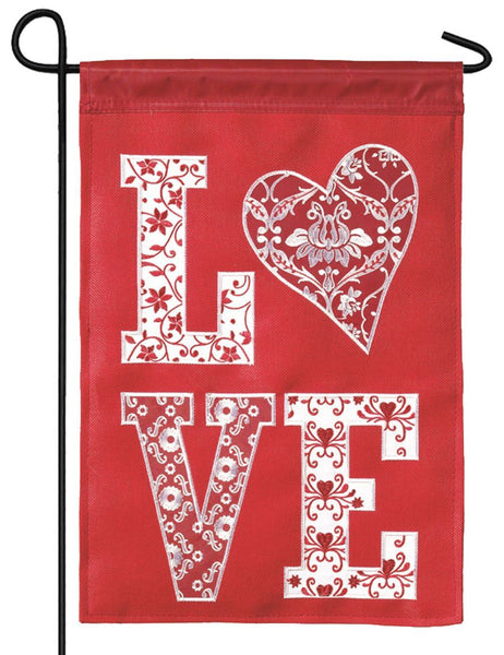 Burlap Love Patterns Double Applique Garden Flag - All Decorative Flags/Holidays/Valentine's Day Flags - I AmEricas Flags