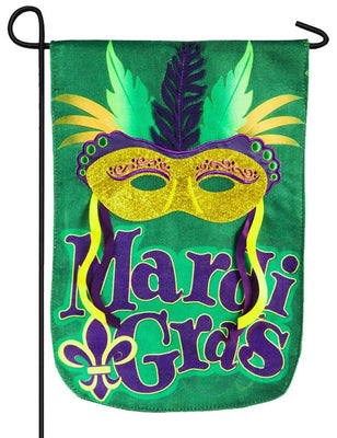 Burlap Mardi Gras Mask Decorative Garden Flag
