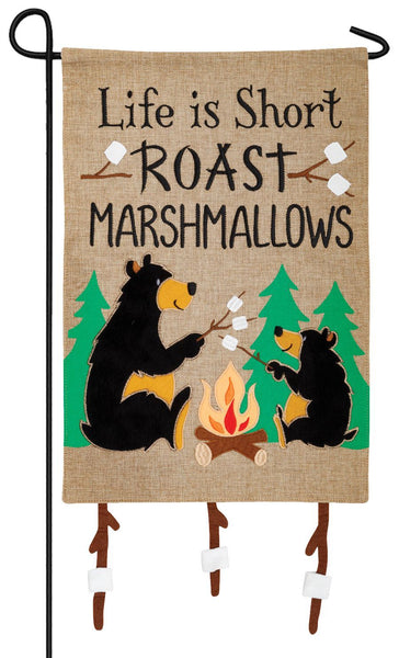 Burlap Marshmallow Bears Double Applique Garden Flag