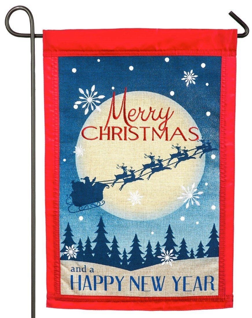 Burlap Merry Christmas Happy New Year Decorative Garden Flag