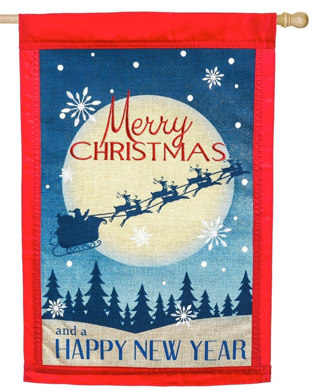 Burlap Merry Christmas Happy New Year Decorative House Flag