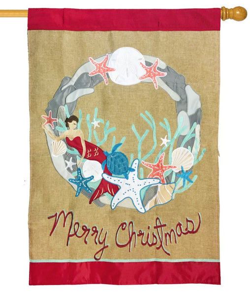 Burlap Merry Coastal Christmas Double Applique House Flag - All Decorative Flags/Holidays/Christmas Flags - I AmEricas Flags