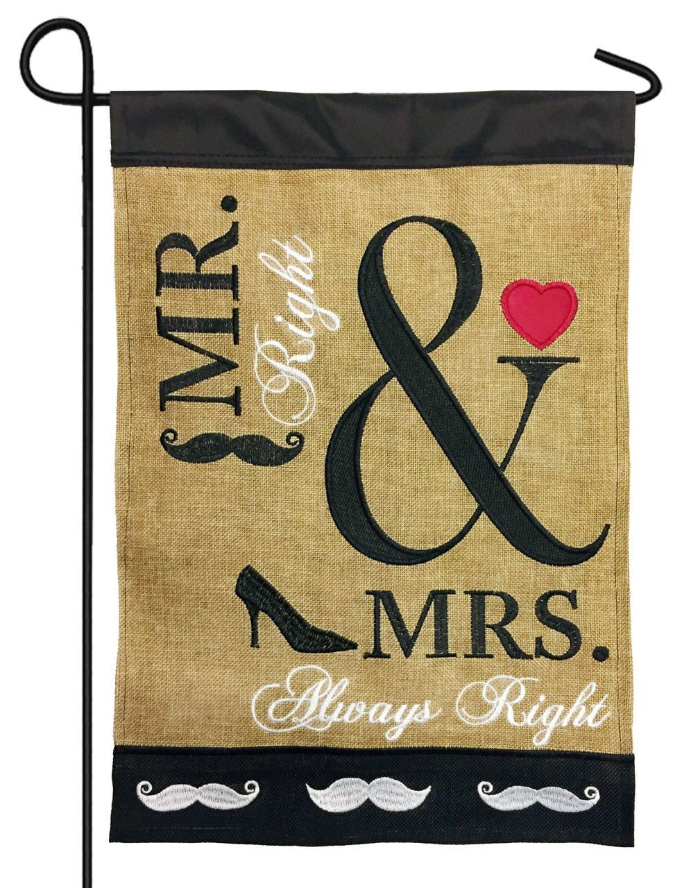 Burlap Mrs. Always Right Double Applique Garden Flag - All Decorative Flags/Themes/Special Occasion Flags - I AmEricas Flags