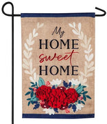 Burlap My Home Sweet Home Floral Decorative Garden Flag