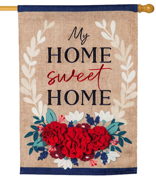 Burlap My Home Sweet Home Floral Decorative House Flag