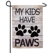Burlap My Kids Have Paws Decorative Garden Flag