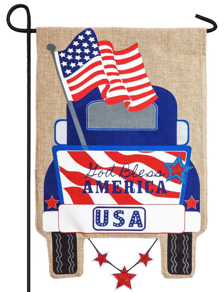 Burlap Patriotic Pickup Decorative Garden Flag - I AmEricas Flags