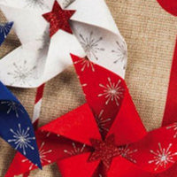 Burlap Patriotic Pinwheels Decorative Garden Flag Detail