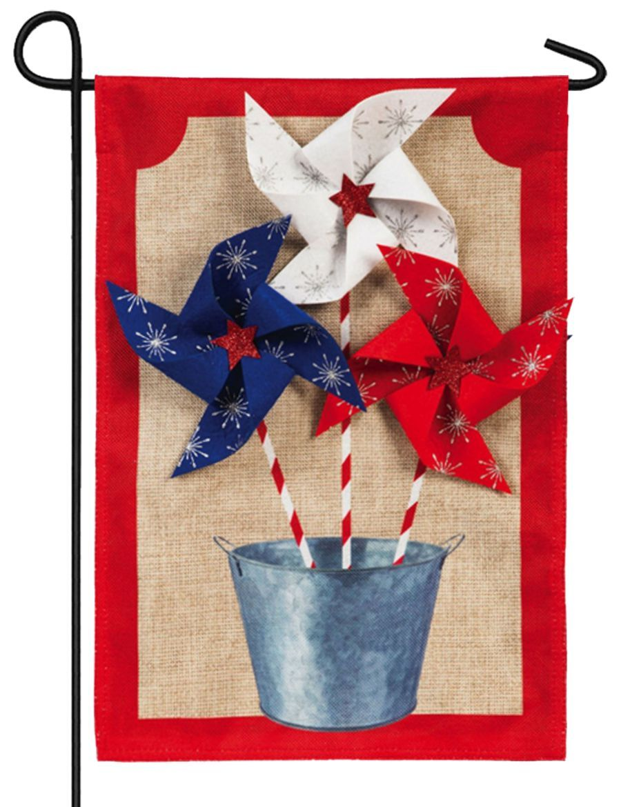 Burlap Patriotic Pinwheels Decorative Garden Flag