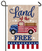 Burlap Patriotic Truck Decorative Garden Flag