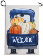 Burlap Pickup Truck and Pumpkins Decorative Garden Flag