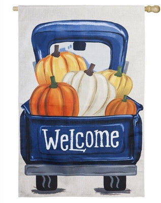 Burlap Pickup Truck and Pumpkins Decorative House Flag