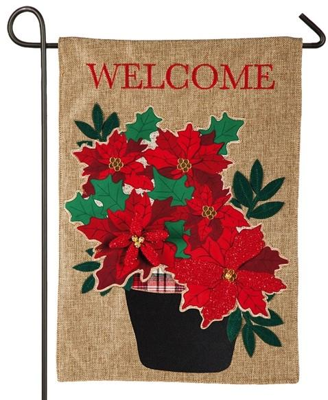 Burlap Poinsettia Basket Decorative Garden Flag