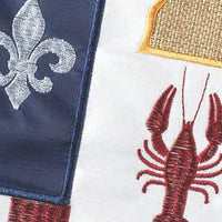 Burlap Proud Louisiana American Decorative Garden Flag Detail 2