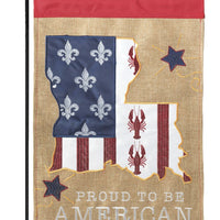 Burlap Proud Louisiana American Decorative Garden Flag