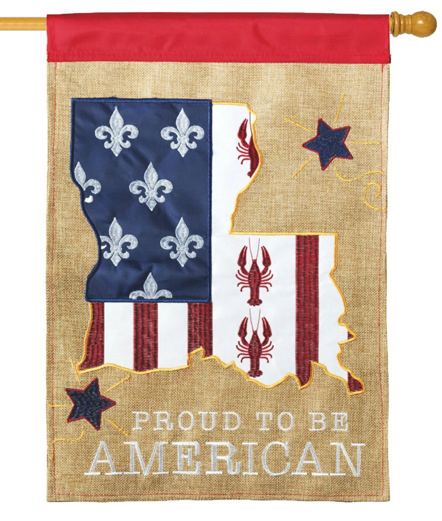 Burlap Proud Louisiana American Decorative House Flag