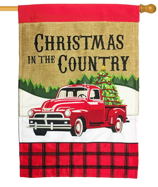 Burlap Red Pickup Country Christmas Double Applique House Flag - All Decorative Flags/Holidays/Christmas Flags - I AmEricas Flags