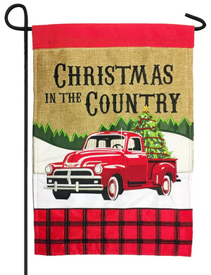 Burlap Red Pickup Country Christmas Double Applique Garden Flag