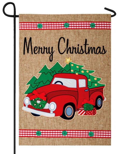 Burlap Red Pickup Truck Double Applique Garden Flag