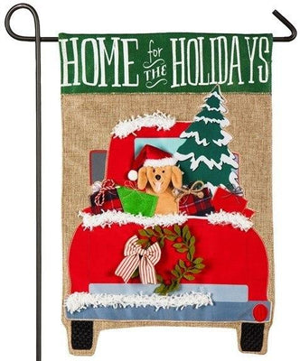 Burlap Red Truck Home for the Holidays Decorative Garden Flag