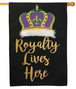 Burlap Royalty Lives Here Decorative House Flag