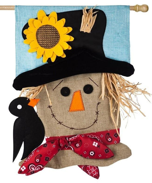 Burlap Sculpted 3-D Scarecrow Decorative House Flag - All Decorative Flags/Seasons/Fall Flags - I AmEricas Flags