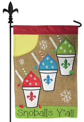 Burlap Snowballs Y'all Double Applique Garden Flag