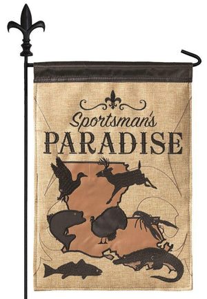 Burlap Sportsman's Paradise Decorative Garden Flag
