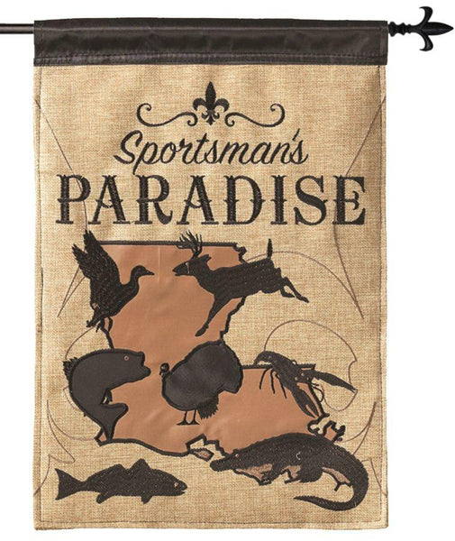 Burlap Sportsman's Paradise Decorative House Flag