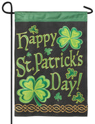 Burlap St. Patrick's Double Applique Garden Flag