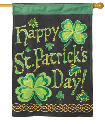 Burlap St. Patrick's Double Applique House Flag