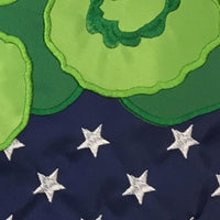 Burlap Stars and Geraniums Double Applique Garden Flag
