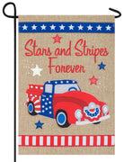 Burlap Stars and Stripes Pickup Double Applique Garden Flag