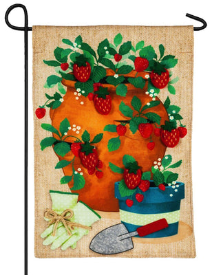 Burlap Strawberry Pot Decorative Garden Flag