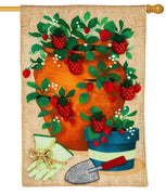 Burlap Strawberry Pot Decorative House Flag