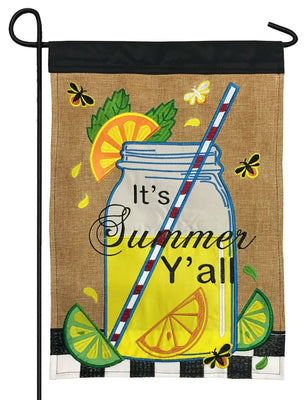 Burlap Summer Mason Jar Double Applique Garden Flag